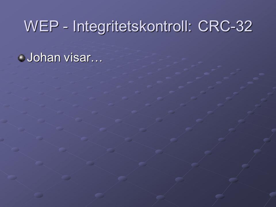 WEP - Integritetskontroll: CRC-32 Johan visar…