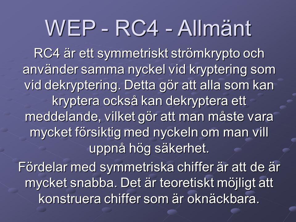 RC4 är ett symmetriskt strömkrypto och använder samma nyckel vid kryptering som vid dekryptering.