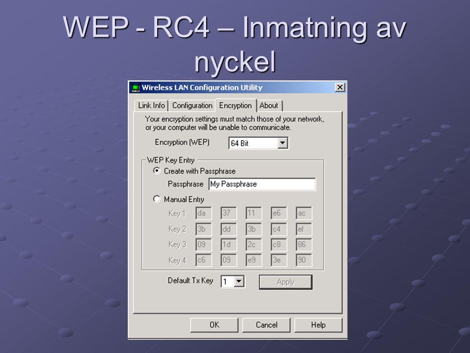 WEP - RC4 – Inmatning av nyckel