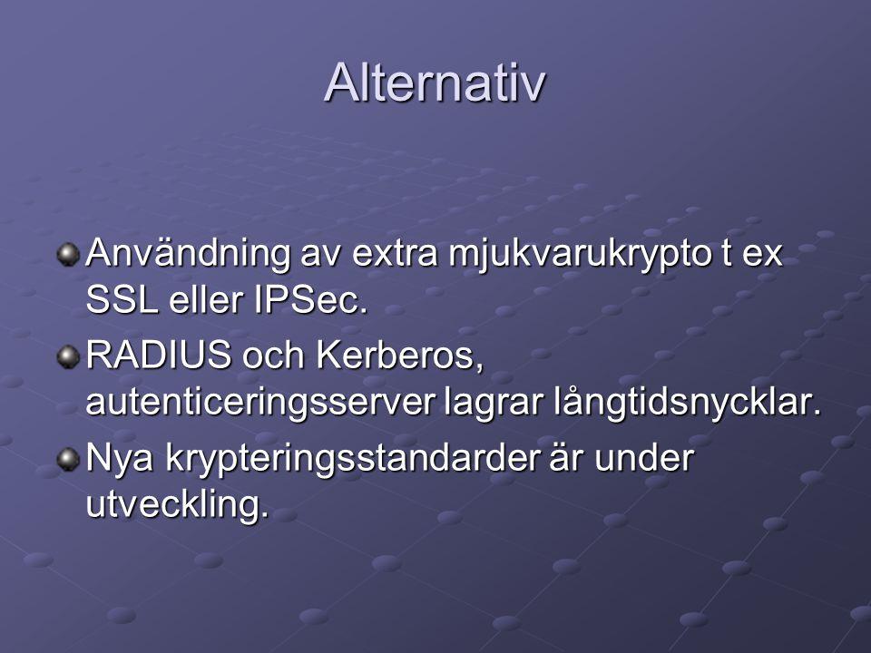 Alternativ Användning av extra mjukvarukrypto t ex SSL eller IPSec.