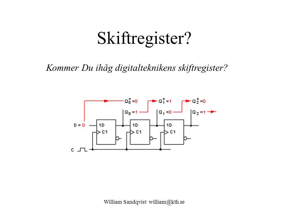 William Sandqvist william@kth.se Skiftregister Kommer Du ihåg digitalteknikens skiftregister