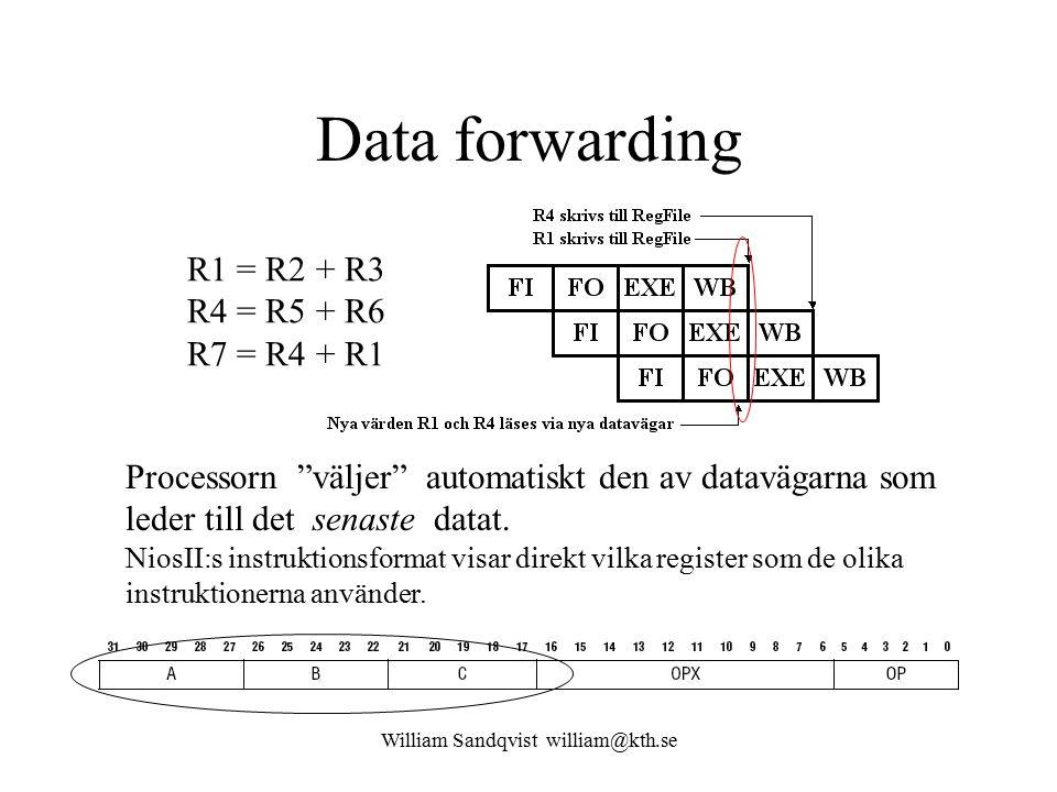 William Sandqvist william@kth.se Data forwarding R1 = R2 + R3 R4 = R5 + R6 R7 = R4 + R1 Processorn väljer automatiskt den av datavägarna som leder till det senaste datat.