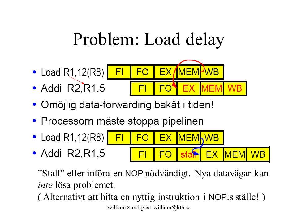 William Sandqvist william@kth.se Problem: Load delay Stall eller införa en NOP nödvändigt.