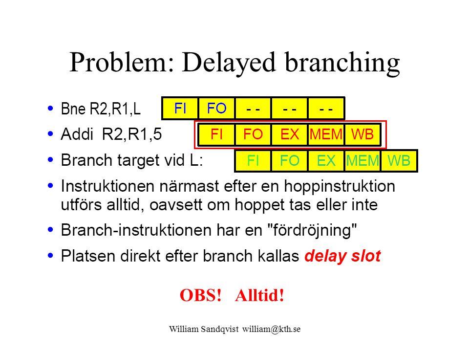 William Sandqvist william@kth.se Problem: Delayed branching OBS! Alltid!