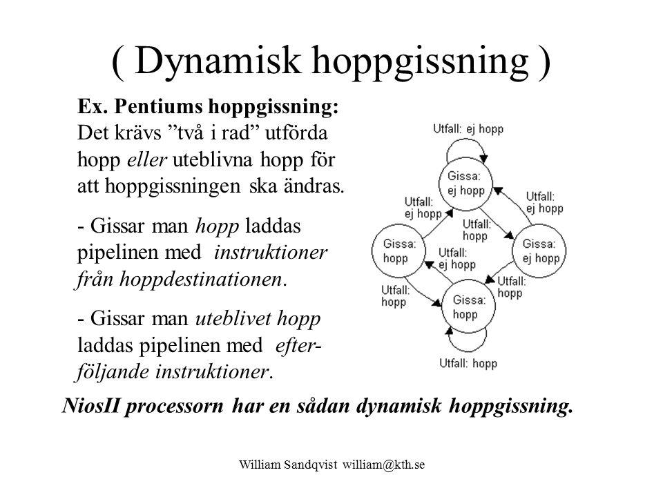 """William Sandqvist william@kth.se ( Dynamisk hoppgissning ) Ex. Pentiums hoppgissning: Det krävs """"två i rad"""" utförda hopp eller uteblivna hopp för att"""