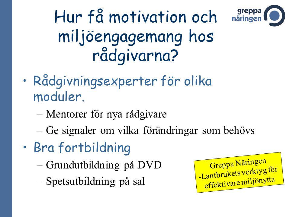 Hur få motivation och miljöengagemang hos rådgivarna? Rådgivningsexperter för olika moduler. –Mentorer för nya rådgivare –Ge signaler om vilka förändr