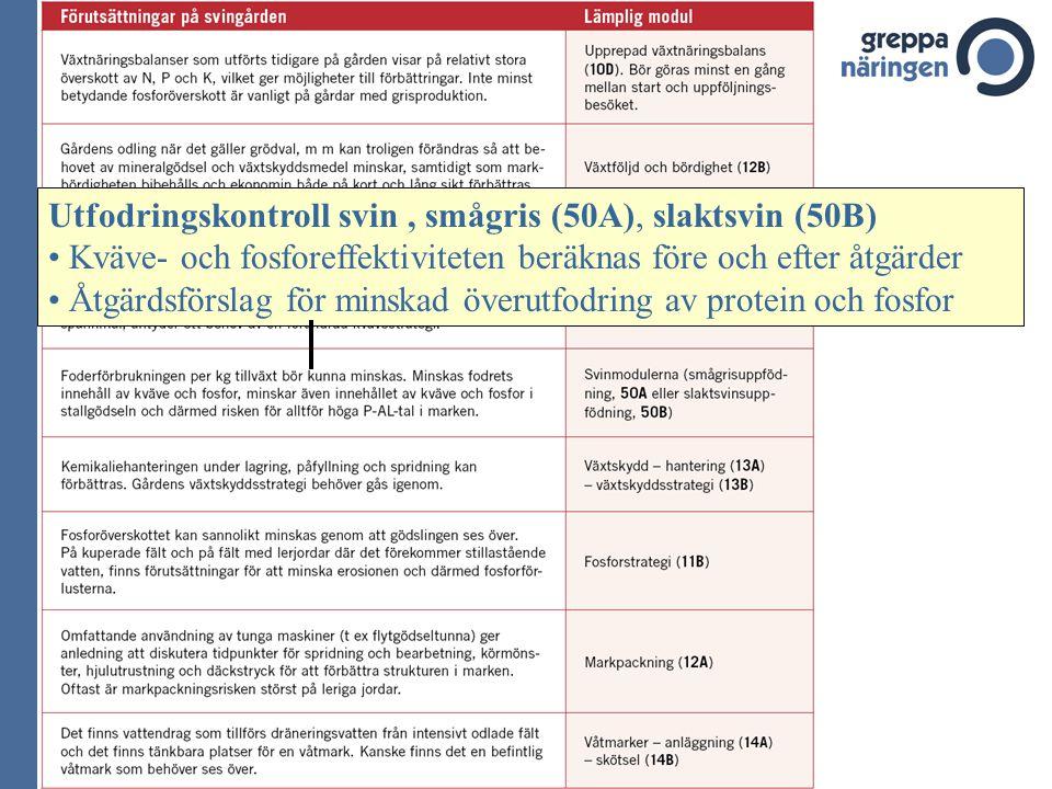 Utfodringskontroll svin, smågris (50A), slaktsvin (50B) Kväve- och fosforeffektiviteten beräknas före och efter åtgärder Åtgärdsförslag för minskad öv