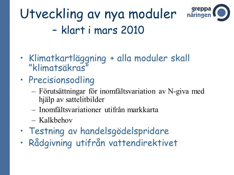 """Utveckling av nya moduler - klart i mars 2010 Klimatkartläggning + alla moduler skall """"klimatsäkras"""" Precisionsodling –Förutsättningar för inomfältsva"""