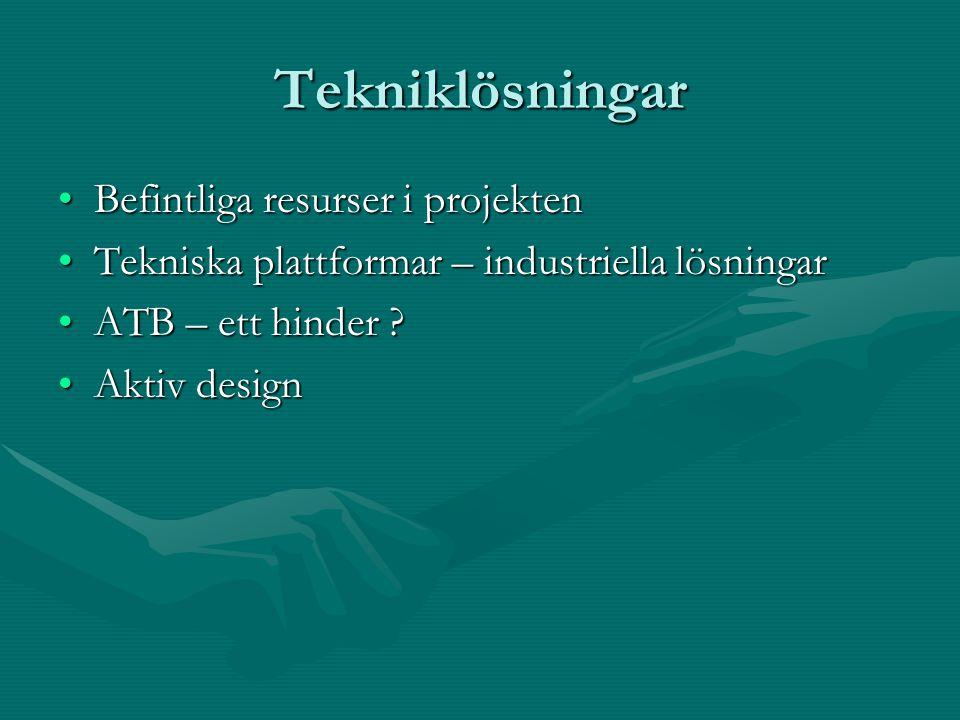 Tekniklösningar Befintliga resurser i projektenBefintliga resurser i projekten Tekniska plattformar – industriella lösningarTekniska plattformar – industriella lösningar ATB – ett hinder ATB – ett hinder .