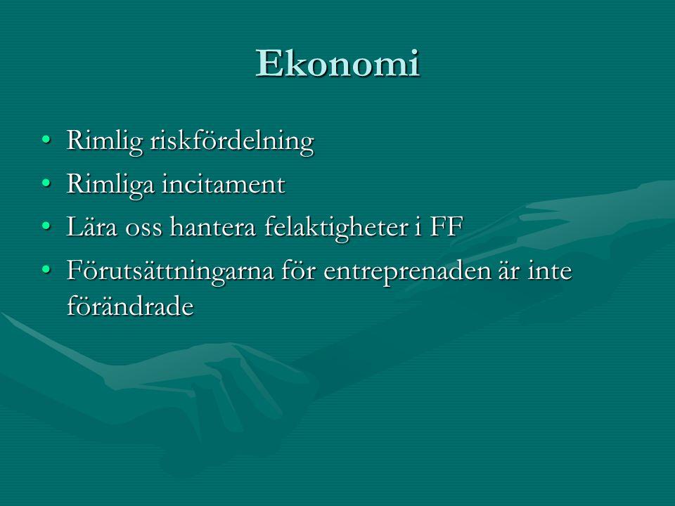 Ekonomi Rimlig riskfördelningRimlig riskfördelning Rimliga incitamentRimliga incitament Lära oss hantera felaktigheter i FFLära oss hantera felaktigheter i FF Förutsättningarna för entreprenaden är inte förändradeFörutsättningarna för entreprenaden är inte förändrade
