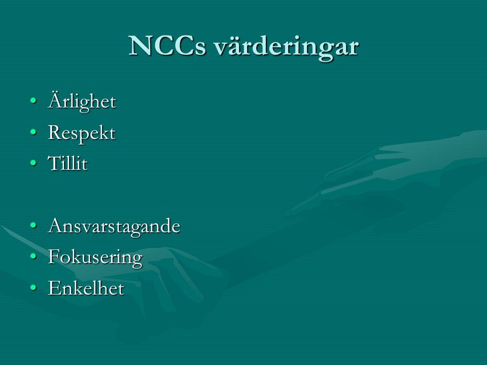 NCCs värderingar ÄrlighetÄrlighet RespektRespekt TillitTillit AnsvarstagandeAnsvarstagande FokuseringFokusering EnkelhetEnkelhet