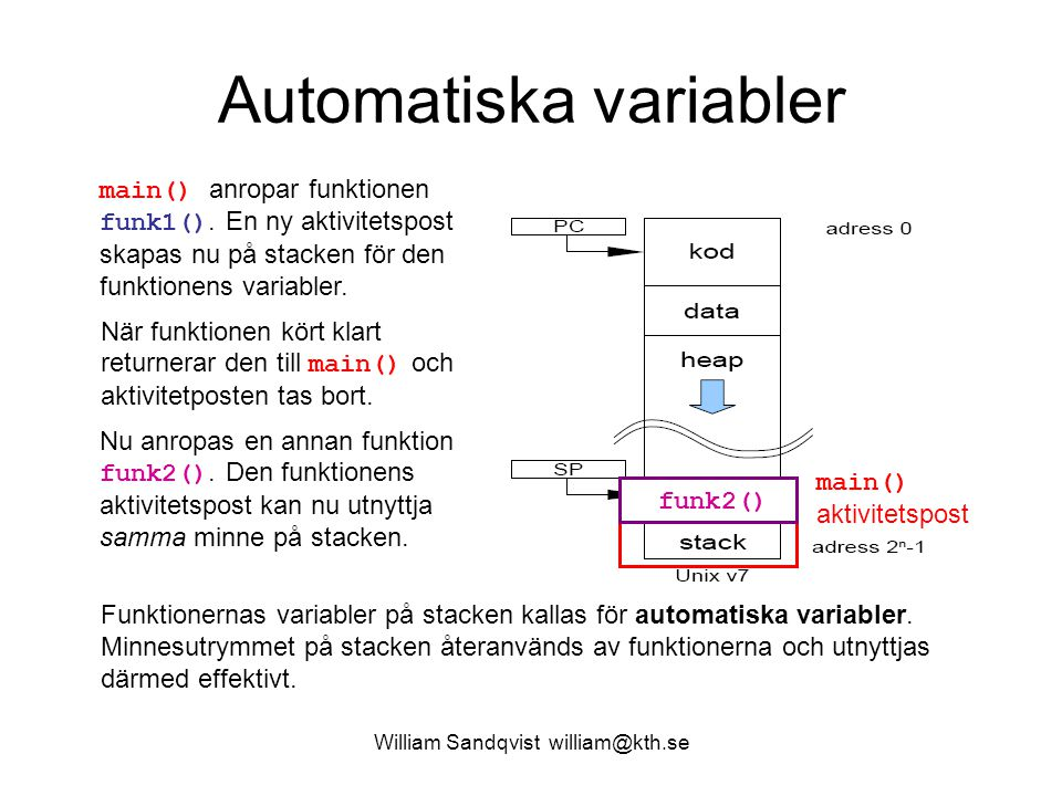 William Sandqvist william@kth.se En funktion som genererar data array[] Antag att funktionen funk2() genererar data och lagrar dessa i en lokal array[] på stacken.