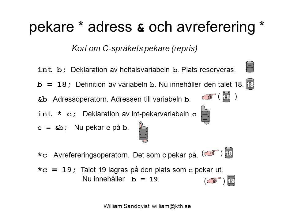 William Sandqvist william@kth.se pekare * adress & och avreferering * int b; Deklaration av heltalsvariabeln b. Plats reserveras. b = 18; Definition a