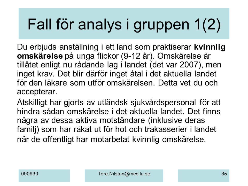 090930Tore.Nilstun@med.lu.se35 Fall för analys i gruppen 1(2) Du erbjuds anställning i ett land som praktiserar kvinnlig omskärelse på unga flickor (9