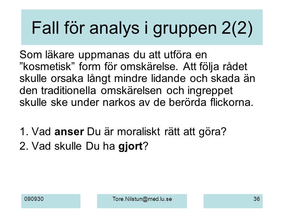 """090930Tore.Nilstun@med.lu.se36 Fall för analys i gruppen 2(2) Som läkare uppmanas du att utföra en """"kosmetisk"""" form för omskärelse. Att följa rådet sk"""