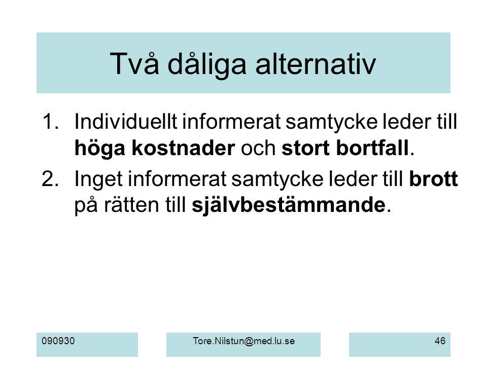 090930Tore.Nilstun@med.lu.se46 Två dåliga alternativ 1. Individuellt informerat samtycke leder till höga kostnader och stort bortfall. 2. Inget inform