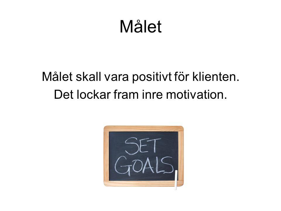Målet Målet skall vara positivt för klienten. Det lockar fram inre motivation.