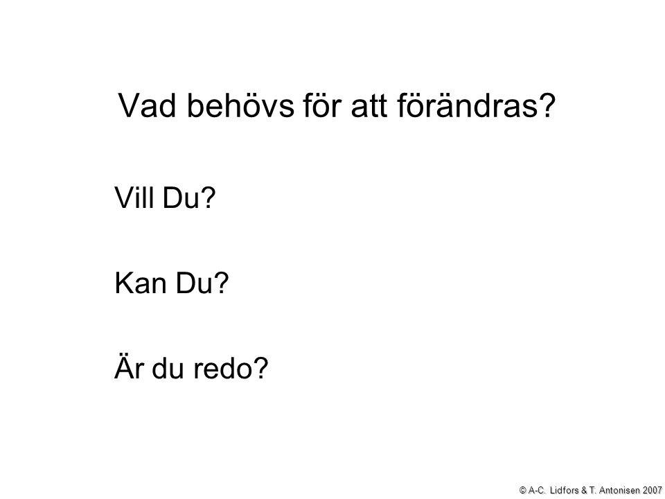 Vad behövs för att förändras? Vill Du? Kan Du? Är du redo? © A-C. Lidfors & T. Antonisen 2007
