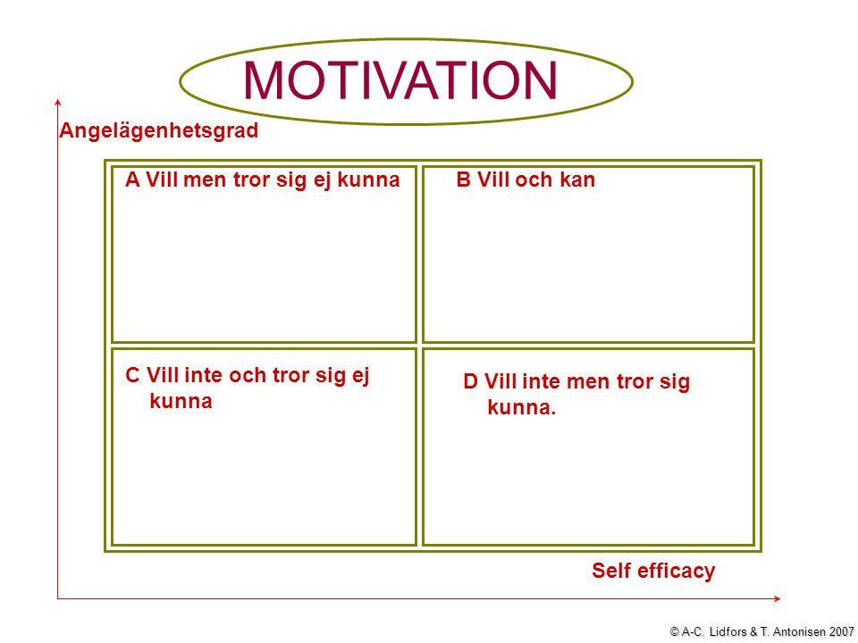 MOTIVATION A Vill men tror sig ej kunnaB Vill och kan C Vill inte och tror sig ej kunna D Vill inte men tror sig kunna. Angelägenhetsgrad Self efficac