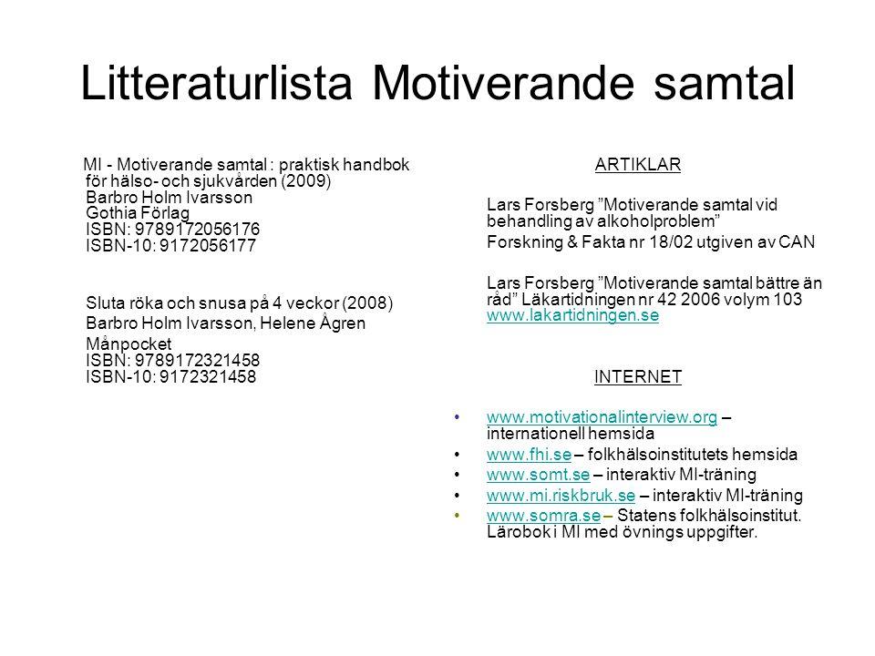 Litteraturlista Motiverande samtal MI - Motiverande samtal : praktisk handbok för hälso- och sjukvården (2009) Barbro Holm Ivarsson Gothia Förlag ISBN