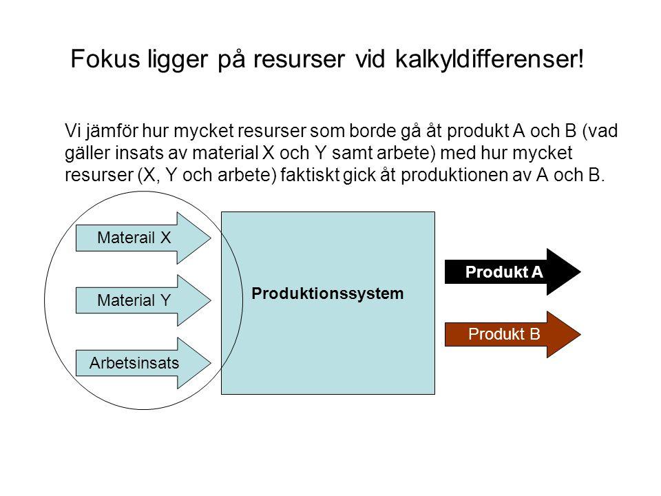 Fokus ligger på resurser vid kalkyldifferenser! Vi jämför hur mycket resurser som borde gå åt produkt A och B (vad gäller insats av material X och Y s