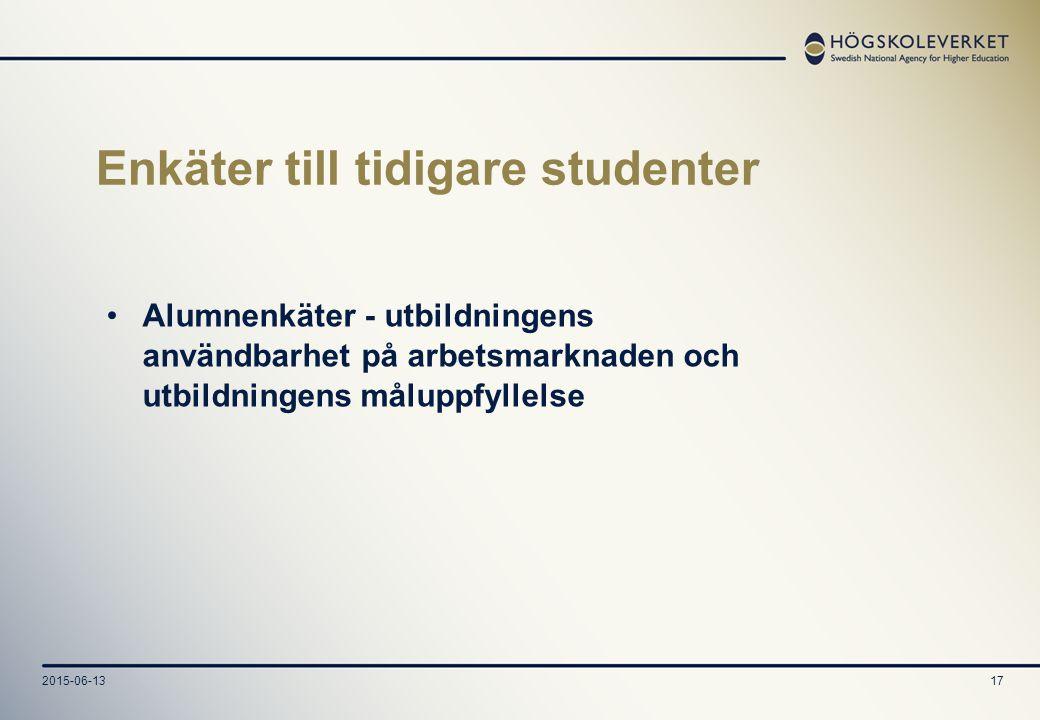 2015-06-1317 Enkäter till tidigare studenter Alumnenkäter - utbildningens användbarhet på arbetsmarknaden och utbildningens måluppfyllelse