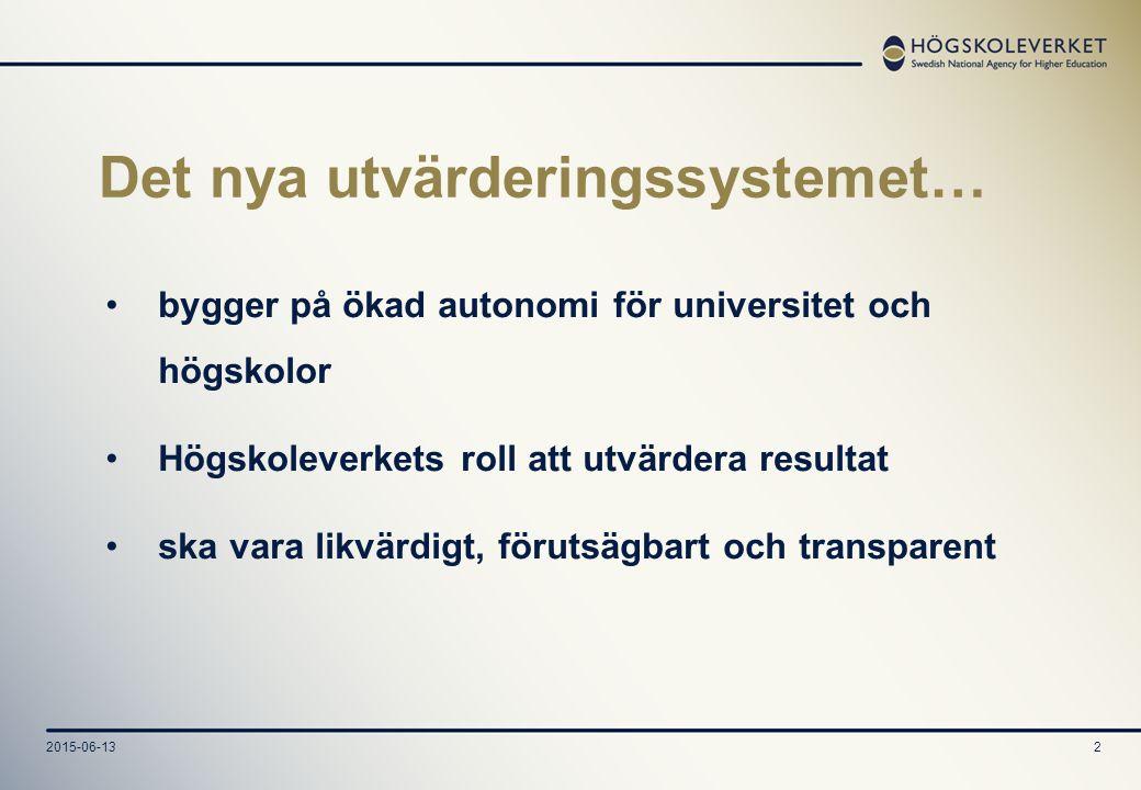 2015-06-132 Det nya utvärderingssystemet… bygger på ökad autonomi för universitet och högskolor Högskoleverkets roll att utvärdera resultat ska vara likvärdigt, förutsägbart och transparent