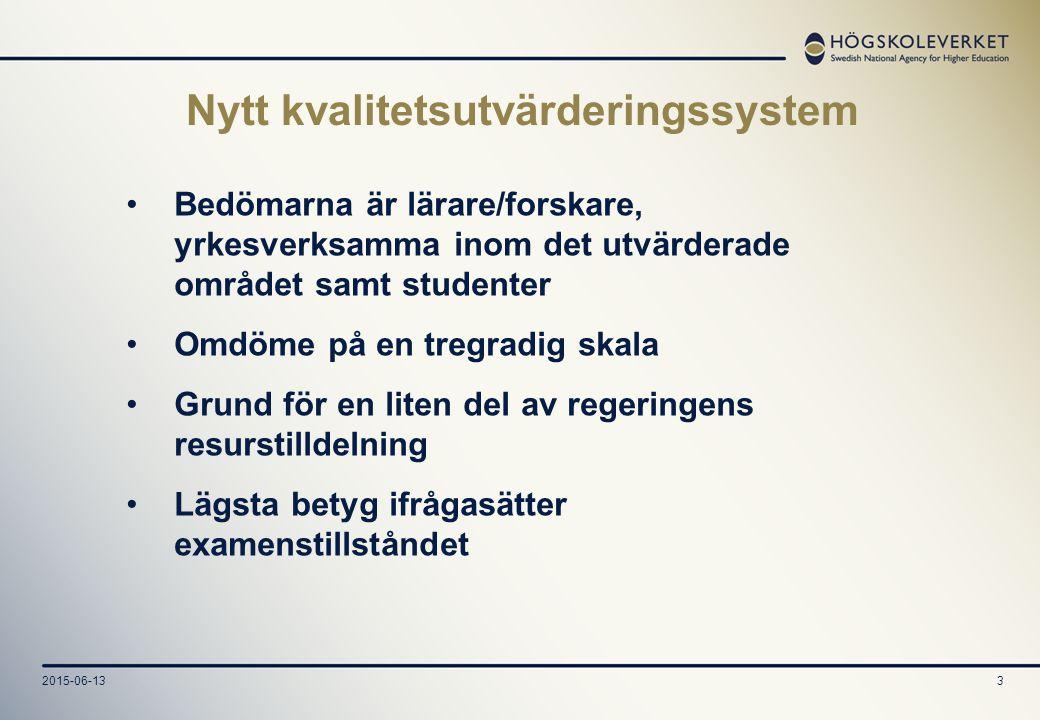 2015-06-134 All högre utbildning i Sverige ska vila på vetenskaplig eller konstnärlig grund samt på beprövad erfarenhet.