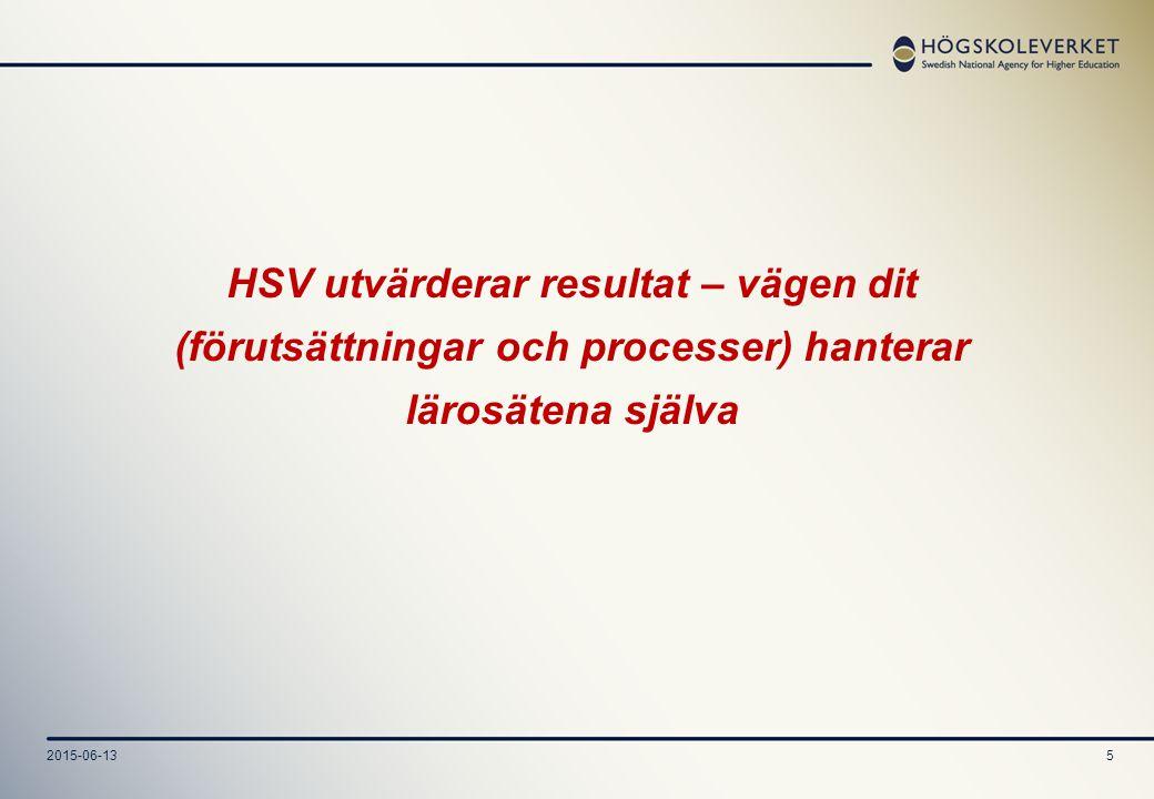 2015-06-135 HSV utvärderar resultat – vägen dit (förutsättningar och processer) hanterar lärosätena själva