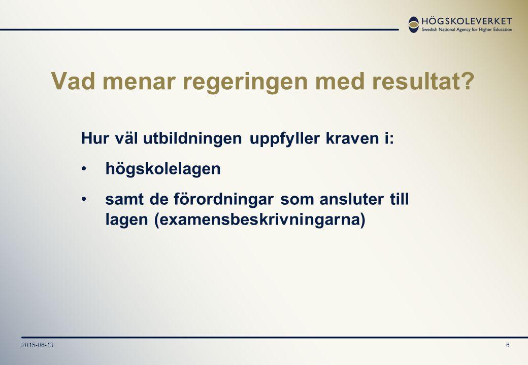 2015-06-137 Utbildningarnas resultat bedöms utifrån utvalda mål och framtagna kriterier Bedömargruppen föreslår vilka mål som ska utvärderas Målen konkretiseras i form av kriterier på tre nivåer Högskoleverket beslutar om målen och kriterierna efter upptaktsmötet
