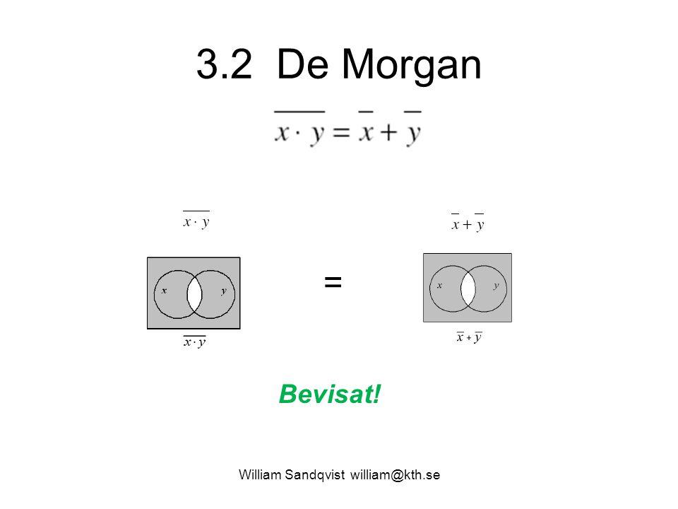 3.2 De Morgan William Sandqvist william@kth.se = Bevisat!