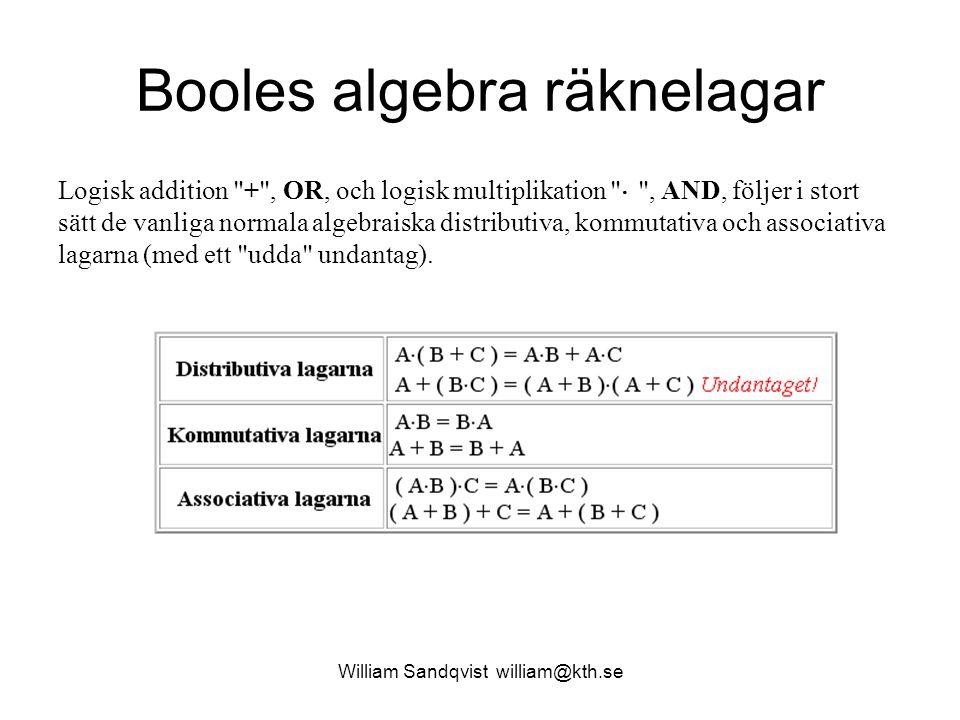 William Sandqvist william@kth.se Booles algebra räknelagar Logisk addition + , OR, och logisk multiplikation  , AND, följer i stort sätt de vanliga normala algebraiska distributiva, kommutativa och associativa lagarna (med ett udda undantag).