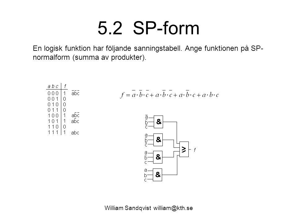5.2 SP-form En logisk funktion har följande sanningstabell. Ange funktionen på SP- normalform (summa av produkter).