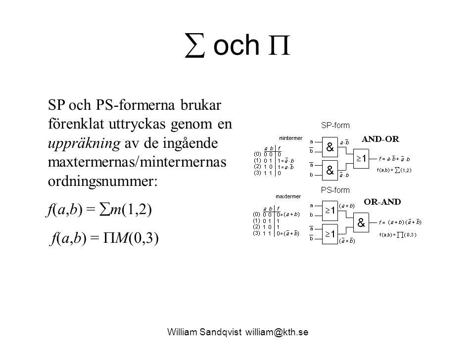 William Sandqvist william@kth.se  och  SP och PS-formerna brukar förenklat uttryckas genom en uppräkning av de ingående maxtermernas/mintermernas ordningsnummer: f(a,b) =  m(1,2) f(a,b) =  M(0,3)