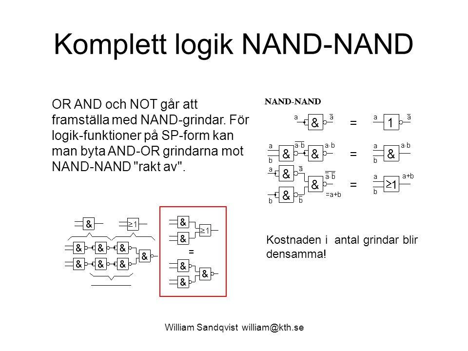 Komplett logik NAND-NAND OR AND och NOT går att framställa med NAND-grindar. För logik-funktioner på SP-form kan man byta AND-OR grindarna mot NAND-NA