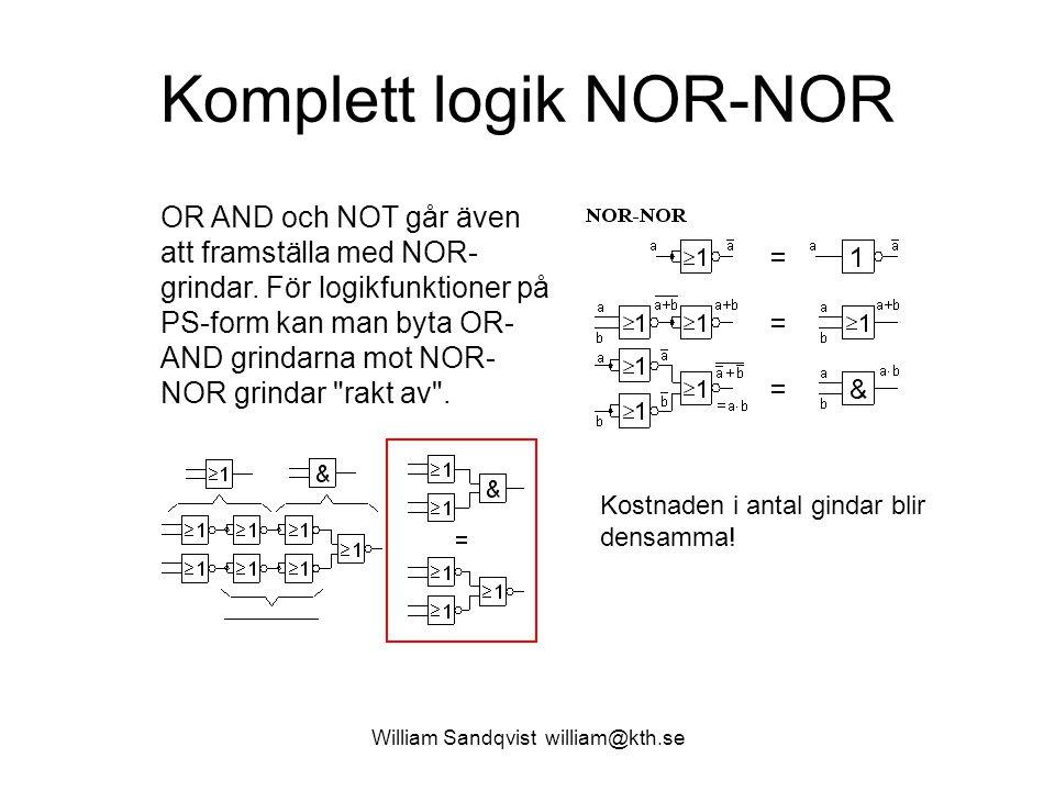 William Sandqvist william@kth.se Komplett logik NOR-NOR OR AND och NOT går även att framställa med NOR- grindar. För logikfunktioner på PS-form kan ma