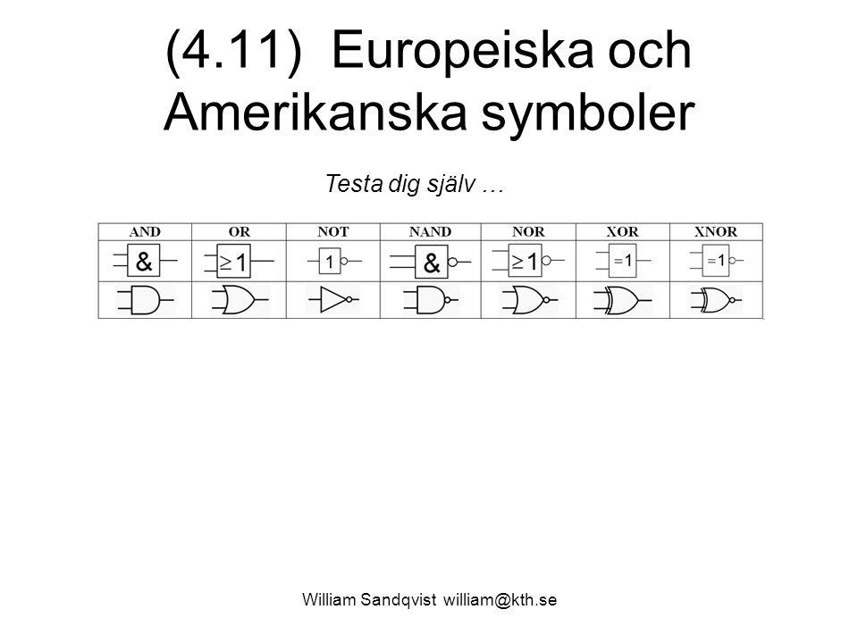 (4.11) Europeiska och Amerikanska symboler William Sandqvist william@kth.se Testa dig själv …