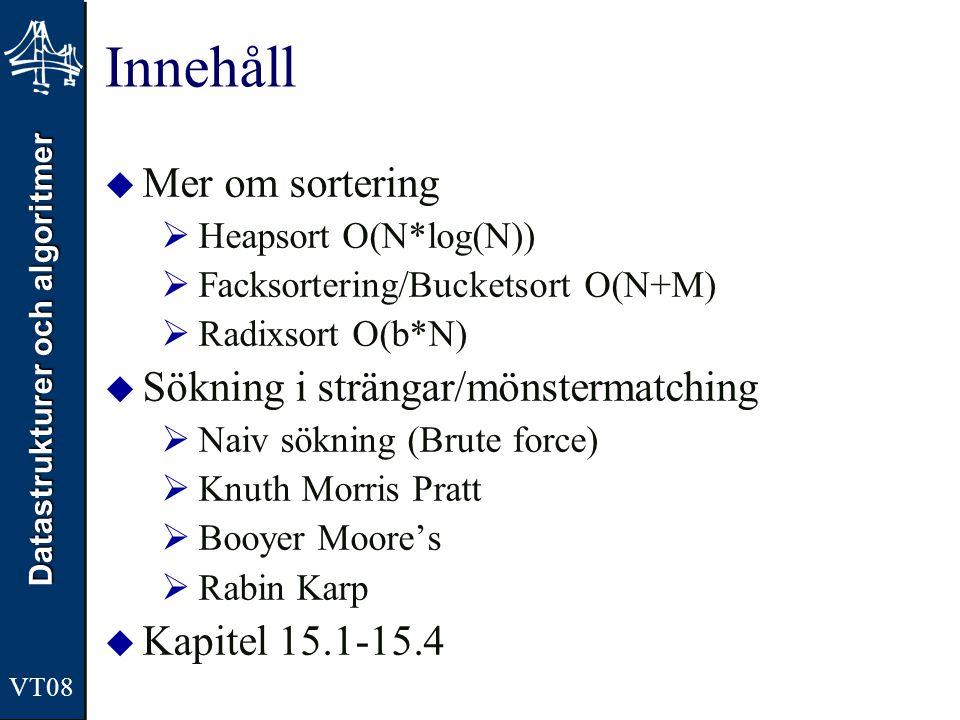 Datastrukturer och algoritmer VT08 Innehåll  Mer om sortering  Heapsort O(N*log(N))  Facksortering/Bucketsort O(N+M)  Radixsort O(b*N)  Sökning i