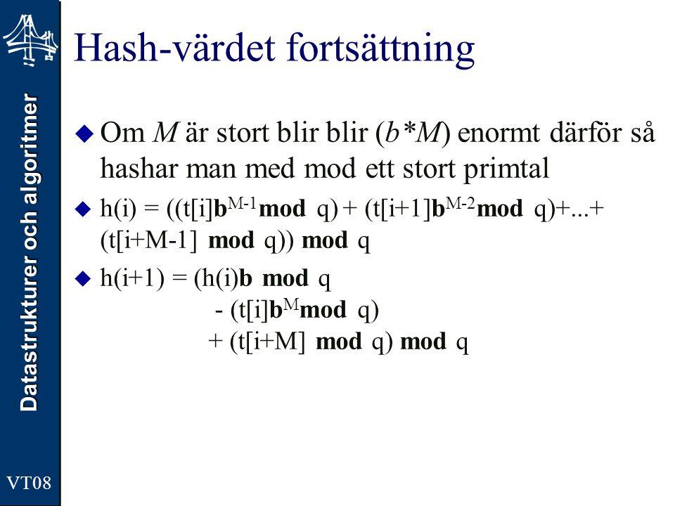 Datastrukturer och algoritmer VT08 Hash-värdet fortsättning  Om M är stort blir blir (b*M) enormt därför så hashar man med mod ett stort primtal  h(