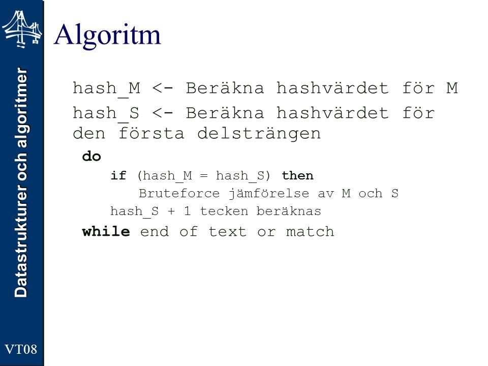 Datastrukturer och algoritmer VT08 Algoritm hash_M <- Beräkna hashvärdet för M hash_S <- Beräkna hashvärdet för den första delsträngen do if (hash_M =