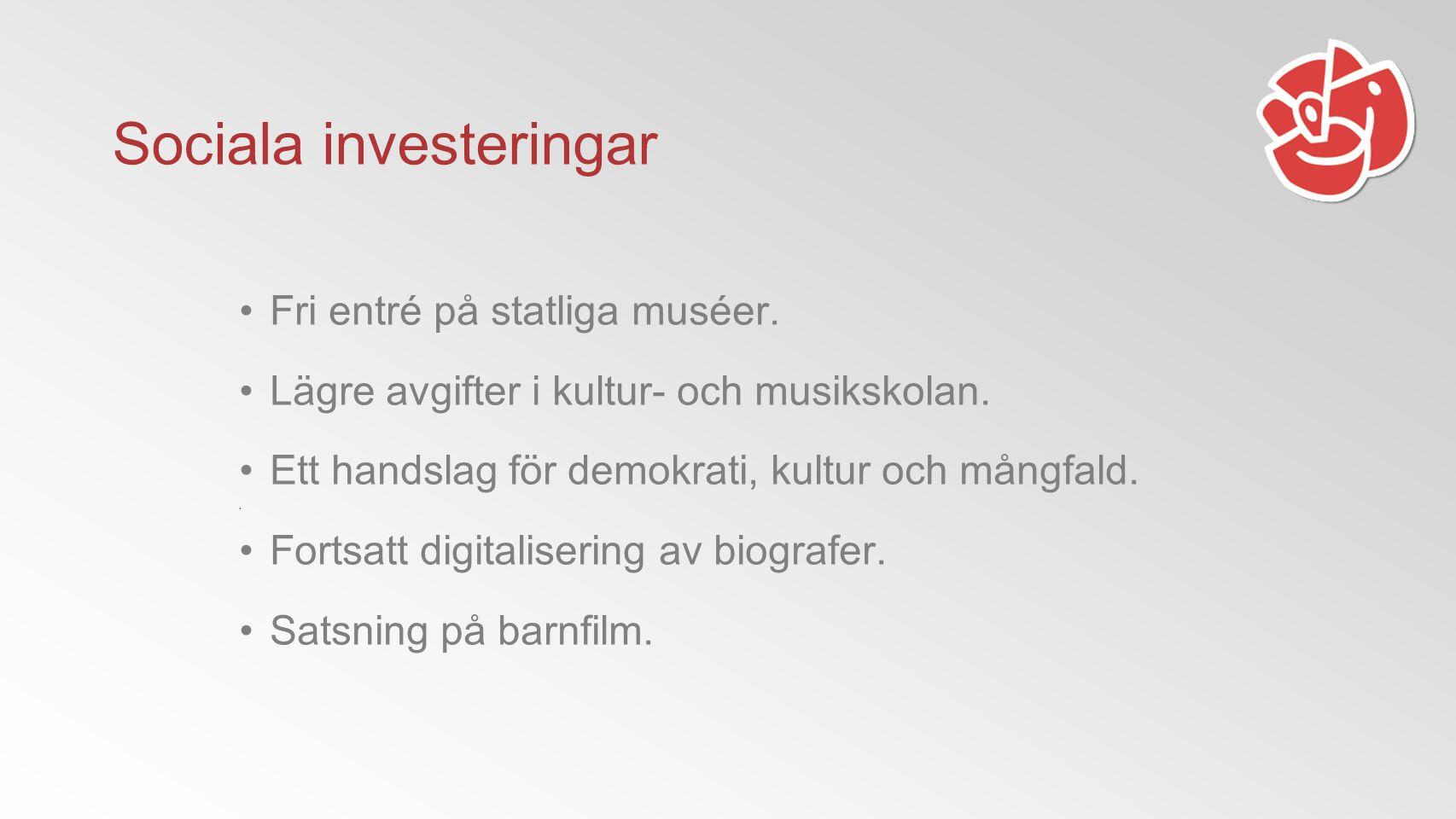 Sociala investeringar Fri entré på statliga muséer.