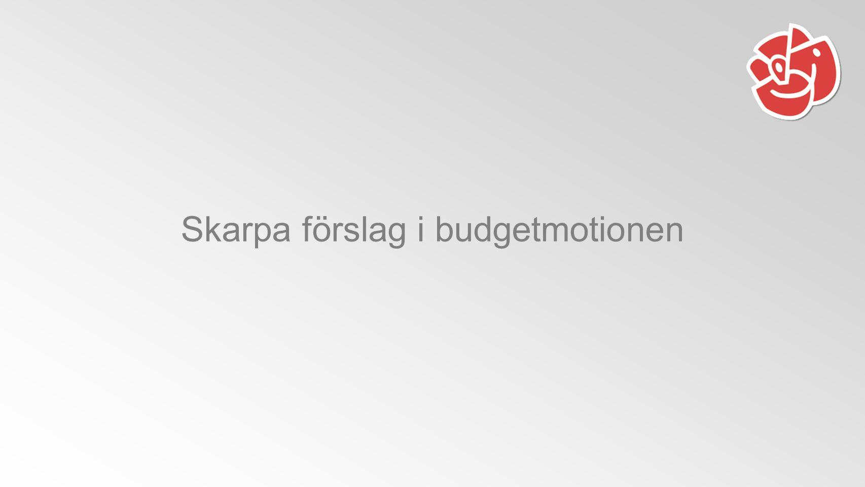 Skarpa förslag i budgetmotionen