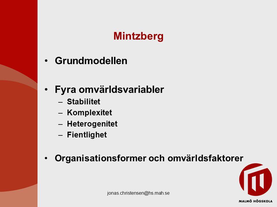jonas.christensen@hs.mah.se Mintzberg Grundmodellen Fyra omvärldsvariabler –Stabilitet –Komplexitet –Heterogenitet –Fientlighet Organisationsformer och omvärldsfaktorer