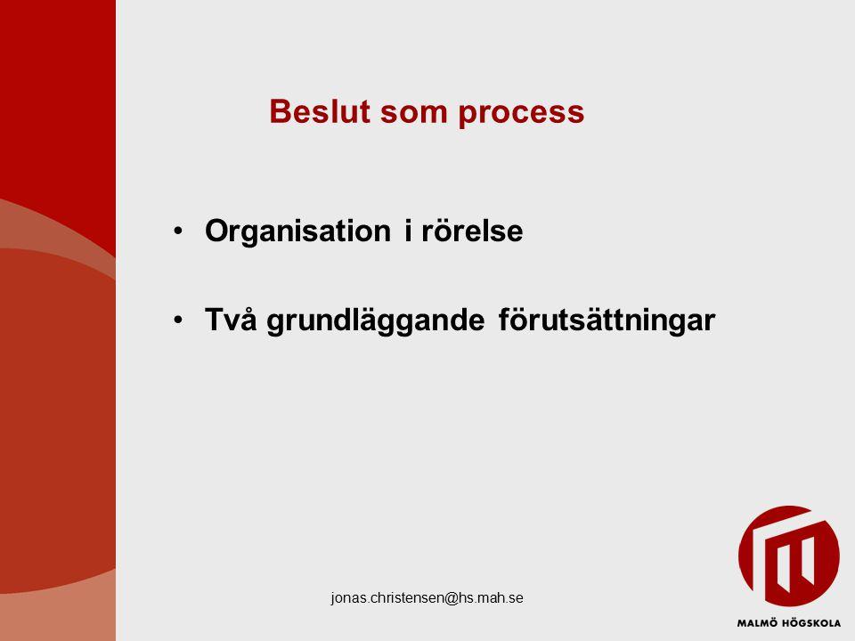 jonas.christensen@hs.mah.se Beslut som process Organisation i rörelse Två grundläggande förutsättningar