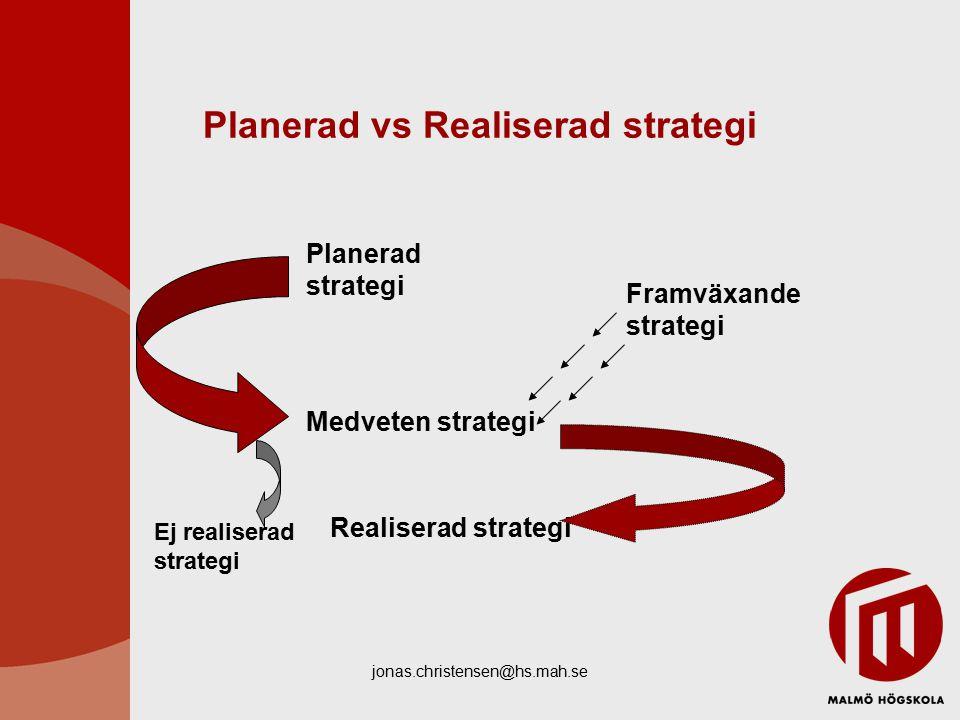 jonas.christensen@hs.mah.se Planerad vs Realiserad strategi Planerad strategi Medveten strategi Realiserad strategi Ej realiserad strategi Framväxande strategi