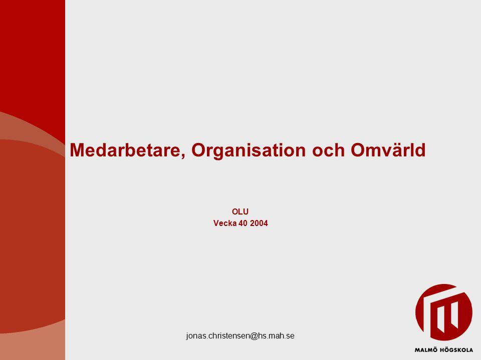 jonas.christensen@hs.mah.se Medarbetare, Organisation och Omvärld OLU Vecka 40 2004