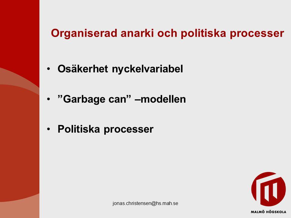 jonas.christensen@hs.mah.se Organiserad anarki och politiska processer Osäkerhet nyckelvariabel Garbage can –modellen Politiska processer