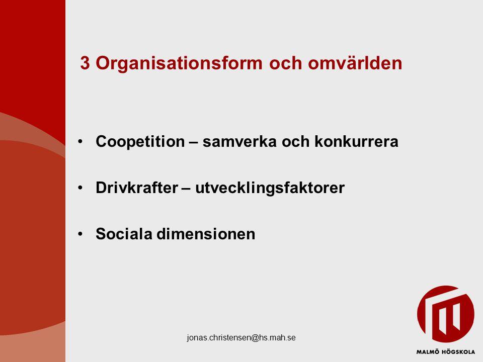 jonas.christensen@hs.mah.se 3 Organisationsform och omvärlden Coopetition – samverka och konkurrera Drivkrafter – utvecklingsfaktorer Sociala dimensionen