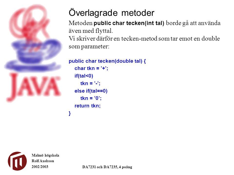Malmö högskola Rolf Axelsson 2002/2003 DA7231 och DA7235, 4 poäng public char tecken(double tal) { char tkn = '+'; if(tal<0) tkn = '-'; else if(tal==0) tkn = '0'; return tkn; } Överlagrade metoder Metoden public char tecken(int tal) borde gå att använda även med flyttal.