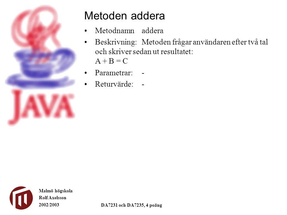 Malmö högskola Rolf Axelsson 2002/2003 DA7231 och DA7235, 4 poäng Metoder ger struktur import extra.*; public class Kapital1 { public static void main(String[] args) { double kapital, räntesats; int antalÅr; System.out.print( Ange kapital: ); kapital = Input.readDouble(); System.out.print( Ange räntan i decimalform (3% som 0.03): ); räntesats = Input.readDouble(); System.out.print( Ange antalet år som kapitalet växer: ); antalÅr = Input.readInt(); System.out.println(); System.out.println( Startkapital: +kapital); System.out.println( År Kapital ); for(int år=1; år<=antalÅr; år++) { kapital = kapital + räntesats*kapital; System.out.println(Output.format(år,2)+Output.format(kapital,10,0)); } * En tabell * Kapital1.java